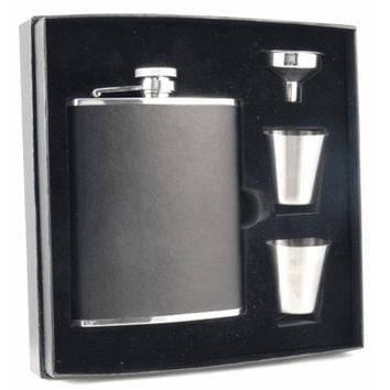 Visol Ano Black Leather Supreme Flask Gift Set - 6 ounces   Overstock.com Shopping - The Best Deals on Flasks & Thermos