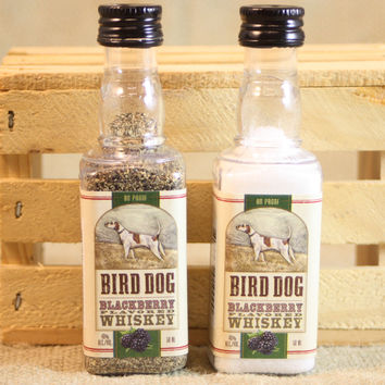 Mini Liquor Bottle Salt & Pepper Shakers Upcycled from Bird Dog Blackberry Whiskey Mini Liquor Bottles