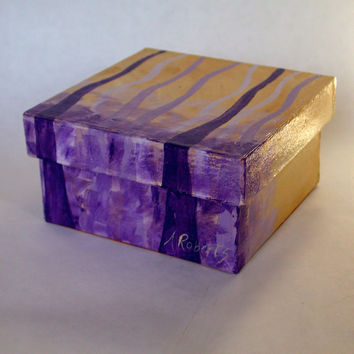 Abstract Purple Trees Jewelry Storage Box, Hand Painted Box, Abstract Box, Purple Box