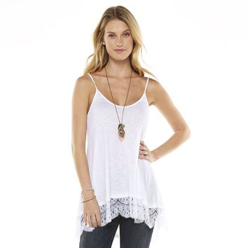 Takeout Slubbed Lace Bottom Tunic Tank