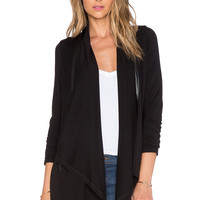 Splendid Faux Leather Tencel Jersey Cardigan in Black