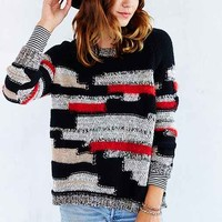 Ecote Patchwork Yarn Pullover Sweater- Black