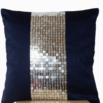 Metallic Throw Pillows -Navy Blue Silver color block sequin bead detail cushion -sequin bead pillow -16X16 -Navy blue pillow -gift -beaded