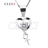 CLUCI women jewelry 10*23mm Heart Shape 925 sterling silver necklace pearl pendant accessories , can stick pearl on
