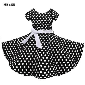 Red,Black Classy Audrey 1950s Vintage Rockabilly Swing Dot Girl Party Dress Summer Cotton Girls Clothes Kids Princess Dress