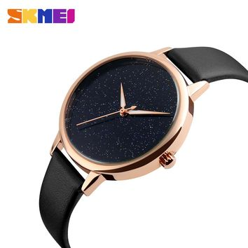 2017 Hot sales watch women clock dress watch skmei brand women's Casual Leather quartz-watch Analog women's wrist watch gifts