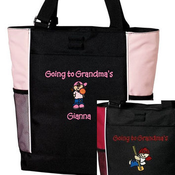 Personalized Going to Grandma's Overnight Tote Bag Girl or Boy Embroidered