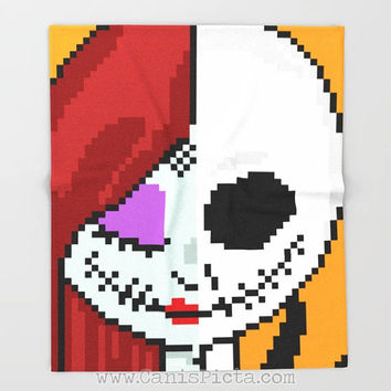 Nightmare Before Christmas Sally Jack Blanket Black Throw Skellington Fleece Home Decor Decorative Gift Unique Fandom Halloween 8 Bit Pixel