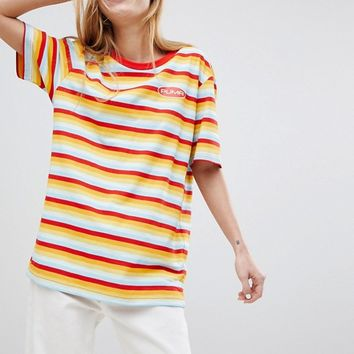 Puma Exclusive Oversized Organic Cotton Rainbow Stripes T-Shirt at asos.com