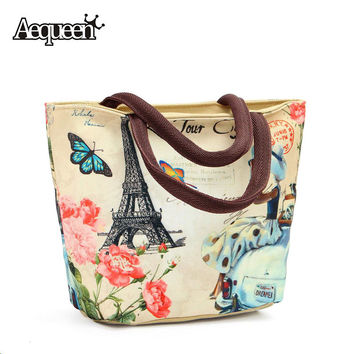 New Fashion Lunch Bag And Cooler Bags Vintage European Style Large Capacity Lunch Box Bag Women Thermal Tower Zipper Opening Bag