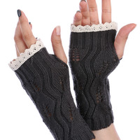 Dark Grey Lace Top Knitted Hand Warmers