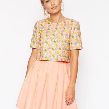 ASOS Candy Embellished T-Shirt Crop Top Scuba Skater Dress