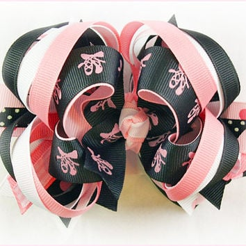 Boutique hair bow, Ballerina bow, Ballet bow, Birthday bow, Pageant hair bows, Pink and Black bow, Boutique stacked bow, Hair bows for girls