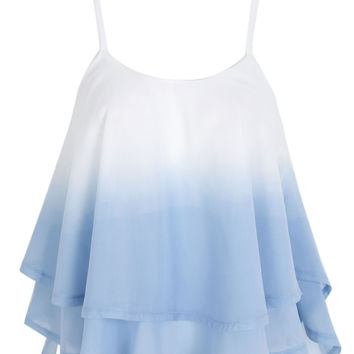 Light Blue Cross Back Layered Ruffle Faded Cami Top