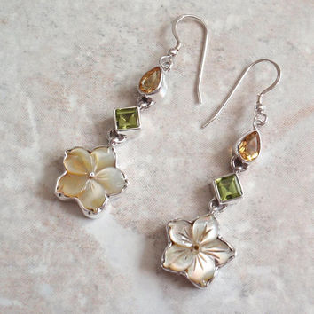 Plumeria Gemstone Earrings Pierced Dangles Citrine Peridot Mother of Pearl Sterling Silver Vintage V0454