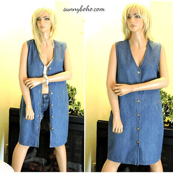 90s sleeveless denim duster / size M / jean jumper dress / 1990s boho grunge hipster long jean vest / SunnyBohoVintage