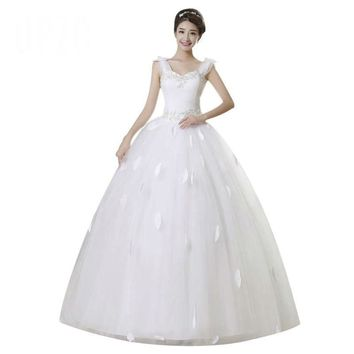 White Beading Lace Appliques Wedding Dress Chiffon Bridal Gown Dresses