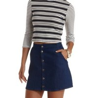 Navy Combo Mixed Stripe Mock Neck Crop Top by Charlotte Russe