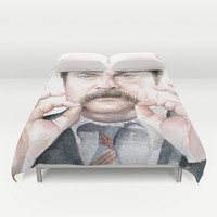 Ron Swanson Portrait | Watercolor Duvet Cover by Olechka