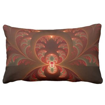 Luminous abstract modern orange red Fractal Lumbar Pillow