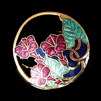 Gold plated Cloisonne brooch / pin by Fish and Crown / Vintage enamel brooch / Finest Enamel Jewellery / Floral brooch. Hallmarked.