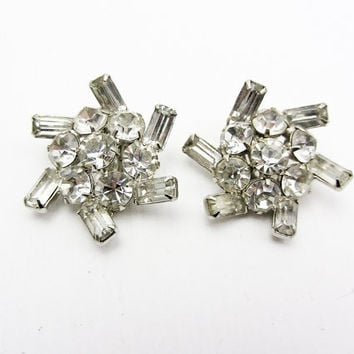 Art deco Rhinestone Earrings, 1940 Wedding Jewelry Clip on earrings Vintage Bridal