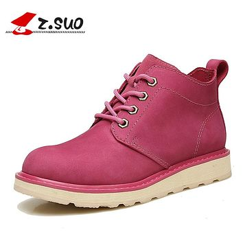 Genuine Leather Pink Women Boots Natural Leather Ankle Boots For Girl Women Flat Shoes Lace-up Tooling Short Boots Brown