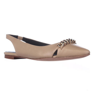 Coach Rodney Chain Strap Pointed Toe Slingback Flats - Nude