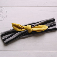 Grey Striped Knot Headband with Mustard Green Bow Headband Knot Toddler Headband Head Wrap Baby Bow Headband Newborn Knot Headband