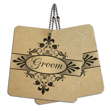 "Groom on Floral Pattern Mr Man His Husband Wood MDF 4"" x 4"" Mini Signs Gift Tags"