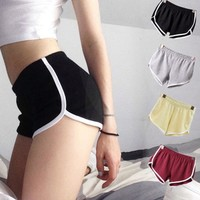 Women Short Elastic Waist All-match Loose Soft Cotton Casual Pure Color Short