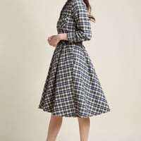 Flannel Fit and Flare Shirt Dress