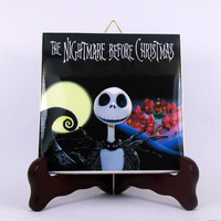 The Nightmare before Christmas Ceramic Tile - Handmade from Italy - High Quality Jack Skellington Sally Tim Burton  mod. 8