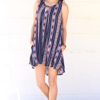 Ethnic Print Keyhole Tunic Dress {Navy Mix}