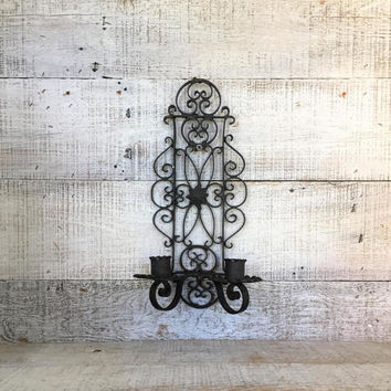 Candle Sconce Rod Iron Wall Candle Holder Hollywood Regency Double Candlestick Holder Wall Mount Black Sconce Ornate Iron Candle Holder