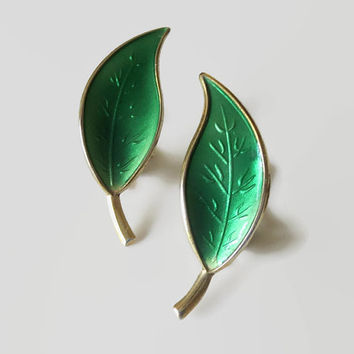 Green Enamel Leaf Earrings, David-Andersen Norway Sterling Clips, Basse-Taille & Gold Wash, Lovely!