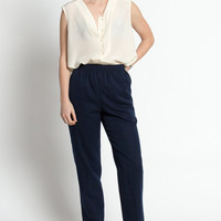 Vintage 80s Navy Minimal Trousers with Elastic Waist and Cropped Leg | S/M
