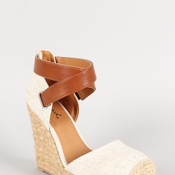 Qupid Linen Criss Cross Espadrille Closed Toe Wedge