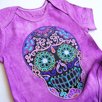 Purple baby clothes Punk Skull bodysuit boys girls 3 month 6 month 12 month Trendy Baby shower gift Rockabilly baby grows day of the dead