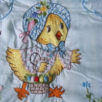 Vintage Anthropomorphic 50's completely adorable hand crochet/embroidered chick with flowers top sheet or bedcover