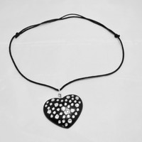 Rhinestone Heart Pendant, Black Necklace, Macrame Clasp, Adjustable length,Gift for heart lovers