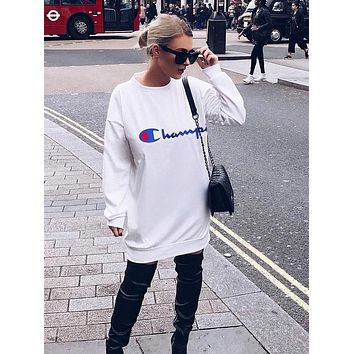 Champion Trending Women Casual Print Long Sleeve Round Collar Dress White