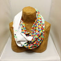Colorful Knit Scarf - Funfetti 2: Electric Boogaloo - Confetti Scarf, Jersey Circle Scarf, Loop Scarf, Eternity Scarf