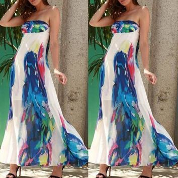 Women Fashion Sexy Strapless Off Shoudler Floral Evening Party Cocktail Dress A Line Long Maxi Dress