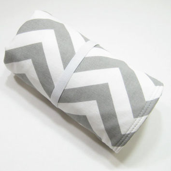 Gray Chevron Changing Mat, Chevron Diaper Bag Accessory, Baby Shower Gift Idea