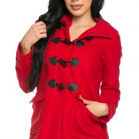 Hooded Long Sleeve Toggle Coat in Red