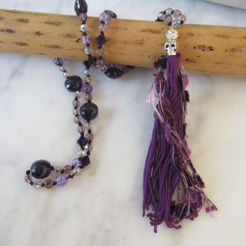 Beaded Tassel Necklace, Purple crystal necklace, skull tassel, Festival wear, Gypsy Soul Necklace, Hippie Necklace, Sugar Skull Necklace