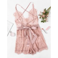 Ribbon Tie Waist Plunging Lace Sleep Romper PINK