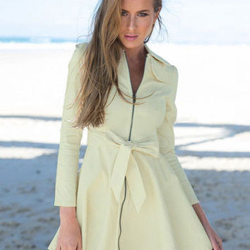 Long Sleeve Front Zipper Trench Coat with Bow