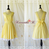 A Party Dress V Dress Vanilla Yellow Backless Dress Beautiful Party Prom Dress White Lace Cocktail Wedding Bridesmaid Dresses Custom Made